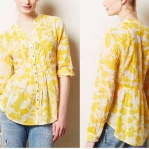 Anthro's Maeve yellow floral pintuck blouse